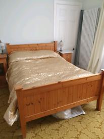 Pine double bed & orthopedic mattress