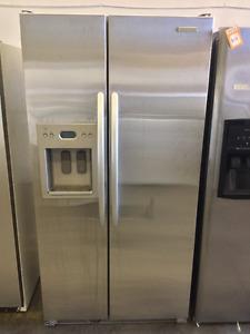 """Stainless Steel 35"""" Modern Kitchen Aid Fridge"""