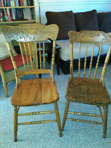 4 early 1900 Pressed back chairs