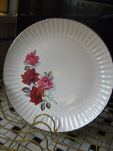 """Vintage 11"""" White Plate with Roses-Gold Rim--$10."""