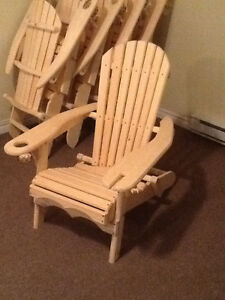 Folding Adirondak Chair with wine glass and drink holders