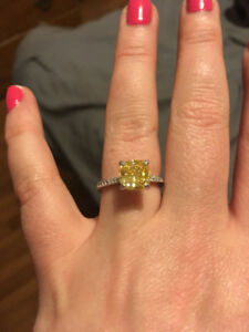 canary yellow engagement ring set, standard size 7