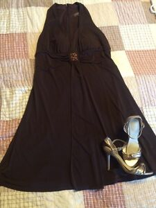 Brown dress sz 16 and sz 9 champagne coloured shoes Windsor Region Ontario image 1