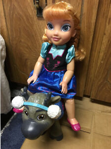 Girl toys frozen Anna and Sven reindeer doll toddler toy