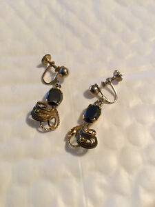 ALASKAN BLACK DIAMOND/GOLD EARRINGS