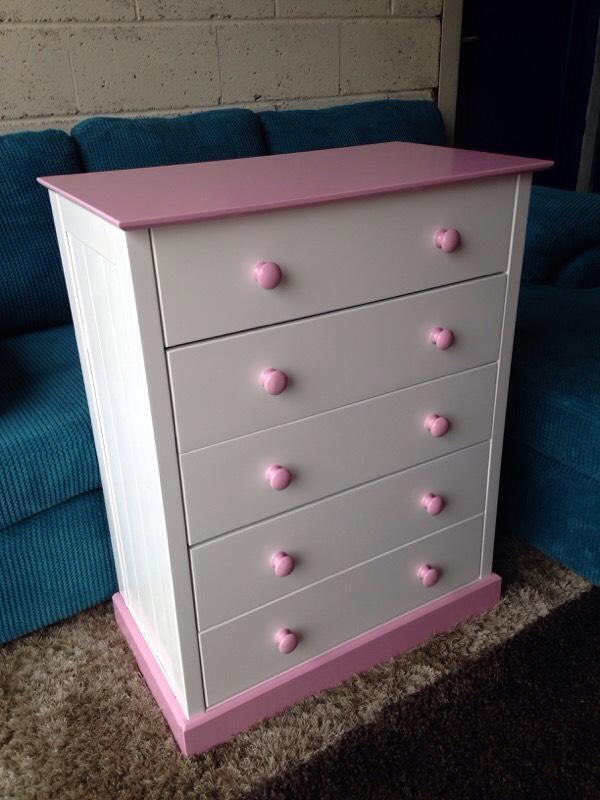 new pink and white chest of drawers in stockport