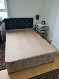 Double Divan Bed Base with Drawers & Headboard