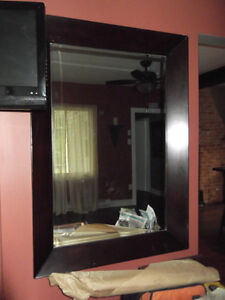Large Heavy Solid Wood Mirror w/Beveled Glass - Hangs both ways