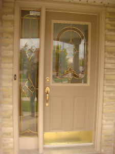 Decorative Front Door With Glass and Matching Side Light
