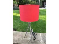 Red and chrome table lamp