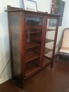 Antique Mission Oak Arts and Crafts China Cabinet