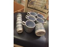 Hornsea tapestry 6 cups mugs plus free egg cups