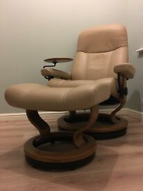 Ekornes Stressless Consul Classic Chair and Footstool