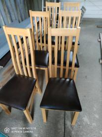 6 Oak wooden chairs