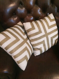 Ivory and Gold Geo accent throw pillows