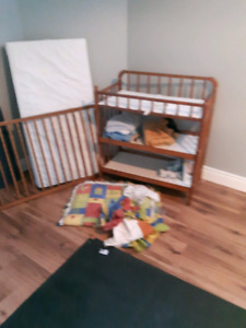 Baby matching crib and changing table