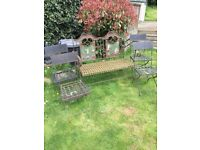 GARDEN BENCH and 4 CHAIRS WROUGHT IRON