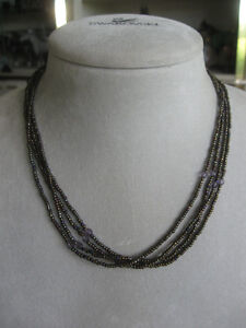 ATTRACTIVE CHOCOLATE-BROWN LITTLE 4-STRAND BEADED NECKLACE