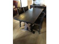 Antique oak table and 7 chairs