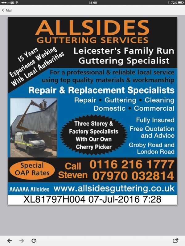 Guttering repair replacement cleaning
