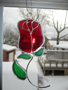 Rose STAINED GLASS SUNCATCHER