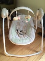 Folding compact baby swing