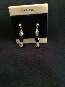 14K Gold/Austrian Crystal Earrings
