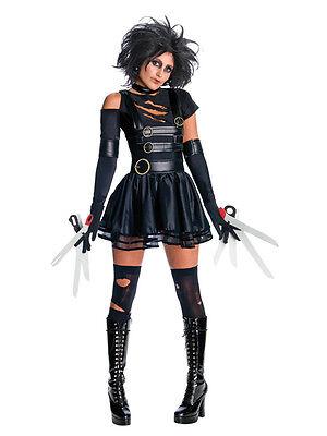 Ladies Miss Edward Scissorhands Halloween Film Fancy Dress Costume & Wig Outfit](Edward Scissorhands Womens Halloween Costume)