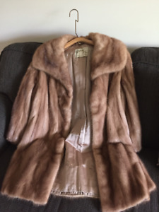 Mink fur coat, blonde,  3/4 length