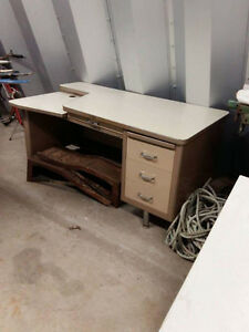 Solid metal Secretary desk out of a school