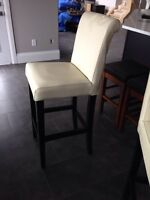 2 LEATHER WHITE BAR STOOLS SOLID WOOD