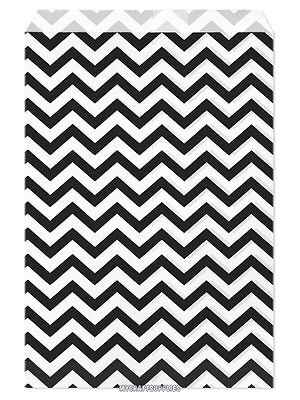 100 Flat Merchandise Paper Bags 6x9 Black Chevron Stripes On White