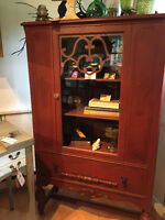 Refinished Barn Red Display Cabinet