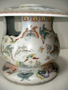 ASIAN porcelain BUTTERFLY CANDLE JAR cloisonné STUNNING large Cambridge Kitchener Area image 1