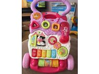 Baby walker in pink with phone