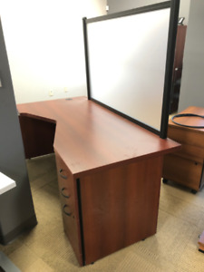 """HEAVY DUTY Office Desk - """"L"""" Shaped with file cabinet - Cherry"""