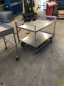 STAINLESS STEEL HEAVY DUTY SUPPLY TOOL CART 2 LEVELS