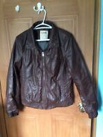 Faux Leather Coat Women's L