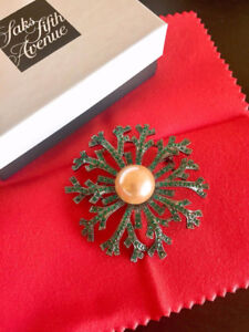Brand New Crystal Brooch with Pearl Coating (Originally $195)