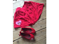 Minnie Mouse skirt (4-5y) and shoes (size 9-10)