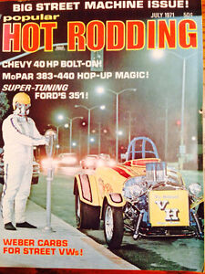 May 1971 to August 1972 Hot rod and Hot rodding magazines