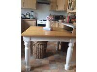 Farmhouse style wood dining table