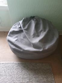 Grey fabric beanbag