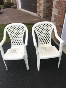 Plastic Deck Chairs x 2