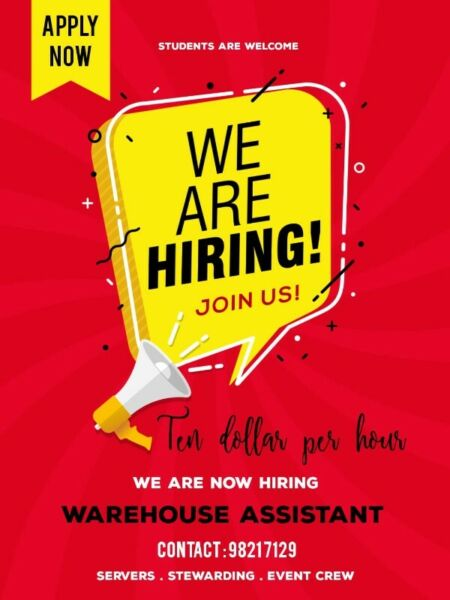 NOW HIRING!!! $8-10/hours