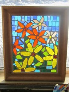 Birdhouse and flowers mosaic stained glass