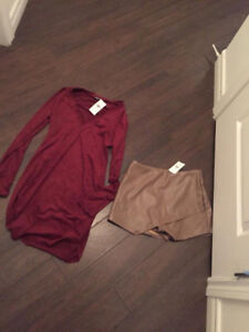 NEW WITH TAGS LEATHER SKORT AND SUEDE DRESS MED