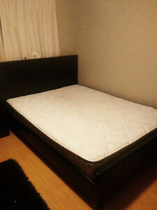 Faux Leather Bedframe with head and foot board ,spring mattress