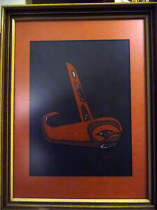 "Blackfish Artist, Original Haida Mask Pastel, Shawn Aster ""Orca"" Stratford Kitchener Area image 1"