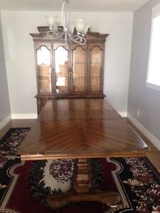 Vintage dining room set with cabinet